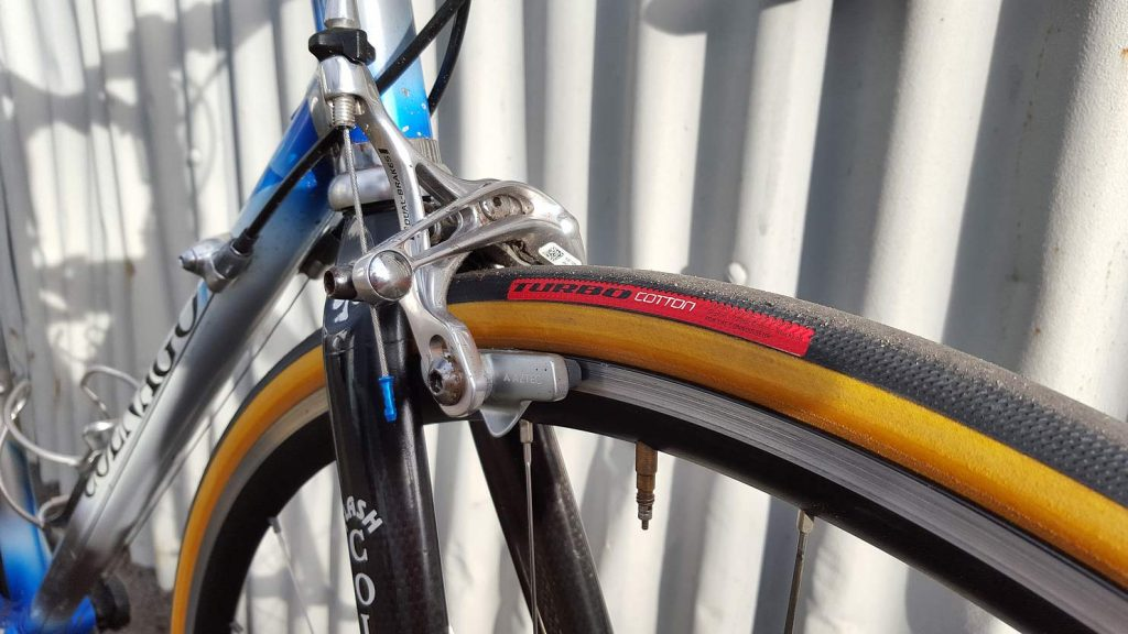 Speialized S-works turbo cotton tyres fitted to the colnago tecnos